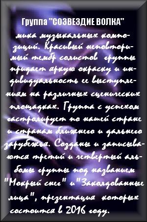 """Группа """"СОЗВЕЗДИЕ ВОЛКА"""""""
